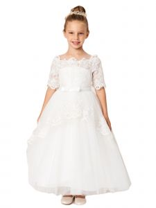 Big Girls Ivory Off Shoulder Lace Peplum Long Tail Communion Dress 8-16