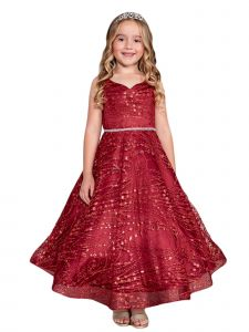 Big Girls Burgundy Glitter Long Sleeve Tulle A-Line Junior Bridesmaid Dress 12