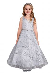 Little Girls Silver Glitter Long Sleeve Tulle A-Line Flower Girl Dress 6