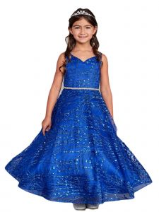 Big Girls Royal Blue Glitter Long Sleeve Tulle A-Line Junior Bridesmaid Dress 12