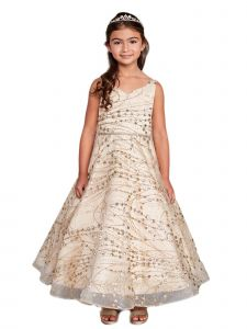 Little Girls Gold Glitter Long Sleeve Tulle A-Line Flower Girl Dress 2-6