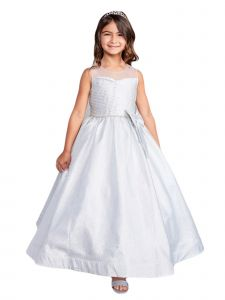 Big Girls Silver Glitter Rhinestone Junior Bridesmaid Dress 14