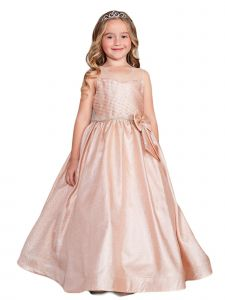 Little Girls Rose Gold Iridescent Glitter Rhinestone Flower Girl Easter Dress 4