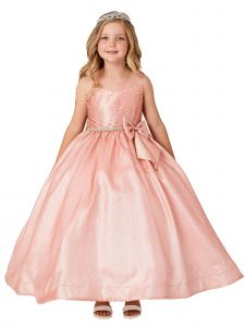 Little Girls Blush Iridescent Glitter Rhinestone  Flower Girl Easter Dress 4