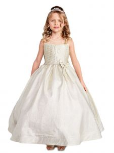 Little Girls Gold Iridescent Glitter Rhinestone Flower Girl Easter Dress 2