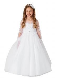 Big Girls White Lace Applique Long Sleeves Train Communion Dress 12