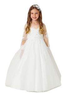 Little Girls Ivory Lace Applique Long Sleeves Train Flower Girl Dress 4