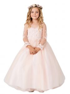 Big Girls Blush Lace Applique Long Sleeves Train Junior Bridesmaid Dress 8