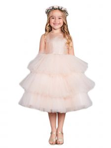 Big Girls Rose Gold Metallic Glitter Layered Tulle  Junior Bridesmaid 10