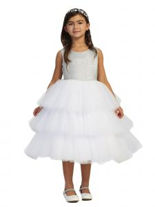 Big Girls White-Silver Metallic Glitter Layered Tulle  Junior Bridesmaid 12
