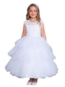 Little Girls White Illusion Neckline Floral Layered Flower Girl Dress 2-6