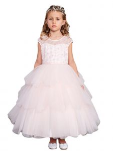 Big Girls Blush Illusion Neckline Floral Layered Junior Bridesmaid Dress 8-16