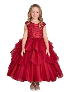 Big Girls Burgundy Illusion Neckline Floral Layered Junior Bridesmaid Dress 10