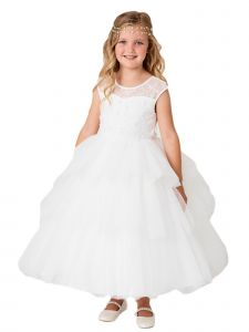 Big Girls Ivory Illusion Neckline Floral Layered Junior Bridesmaid Dress 8-16