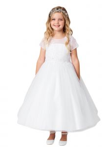 Little Girls White Illusion Neckline Floral Mesh Overlay Flower Girl Dress 2