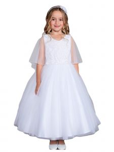 Big Girls White Lace Applique Cape Mesh Overlay Flower Girl Dress 2-6