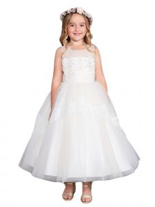 Little Girls Ivory Illusion Neckline Lace Peplum Flower Girl Dress 6