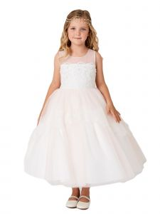 Little Girls Champagne Illusion Neckline Lace Peplum Flower Girl Dress 6