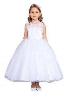 Little Girls White Illusion Neckline Lace Peplum Flower Girl Dress 6