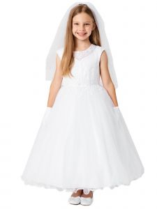 Big Girls White Lace Illusion Neck Pearls Tulle Communion Dress 7