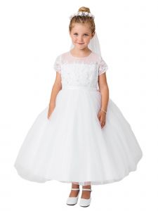 Big Girls White Cap Sleeved Lace Illusion Neck Communion Dress 14
