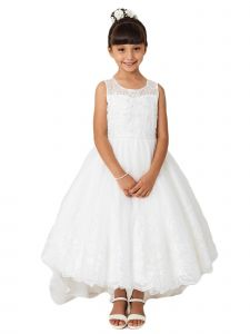 Little Girls Ivory Sleeveless Lace Hem Tail Flower Girl Dress 6