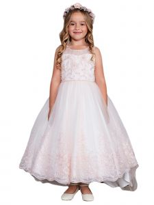 Little Girls Blush Sleeveless Lace Hem Tail Flower Girl Dress 2-6