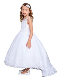 Big Girls White Sleeveless Lace Hem Tail Communion Dress 10