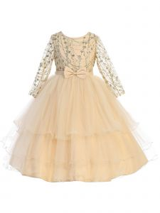 Little Girls Gold Long Sleeves Glitter Tulle Layered Flower Girl Dress 2