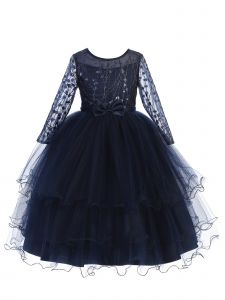 Little Girls Navy Blue Long Sleeves Glitter Tulle Layered Flower Girl Dress 2