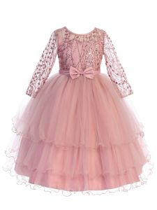 Little Girls Rose Gold Long Sleeves Glitter Tulle Layered Flower Girl Dress 2
