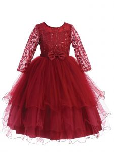 Big Girls Burgundy Long Sleeves Glitter Tulle Layered Junior Bridesmaid 10