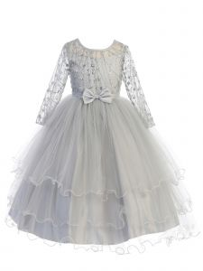Little Girls Silver Long Sleeves Glitter Tulle Layered Flower Girl Dress 6