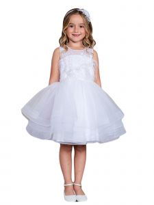 Little Girls White Illusion Neck Lace Tulle Overlay Flower Girl Dress 4
