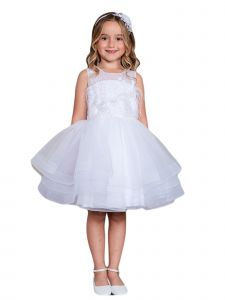 Big Girls White Illusion Neck Lace Tulle Overlay Junior Bridesmaid Dress 8-12