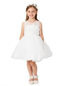 Big Girls Ivory Illusion Neck Lace Tulle Overlay Junior Bridesmaid Dress 8-12