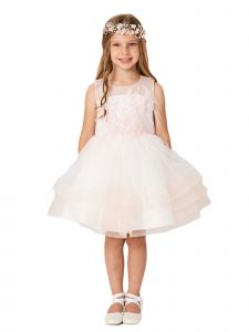 Big Girls Blush Illusion Neck Lace Tulle Overlay Junior Bridesmaid Dress 8-12