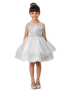 Little Girls Gray Illusion Neck Lace Tulle Overlay Flower Girl Dress 6