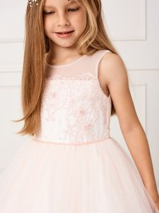 Little Girls Blush Lace Bodice Illusion Neck Tulle Flower Girl Dress 2