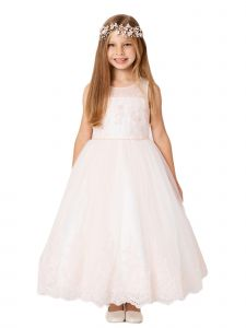 Little Girls Blush Lace Bodice Illusion Neck Tulle Flower Girl Dress 2-6