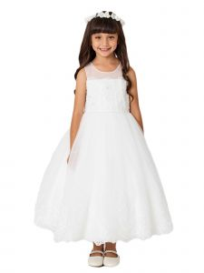 Little Girls Ivory Lace Bodice Illusion Neck Tulle Flower Girl Dress 2