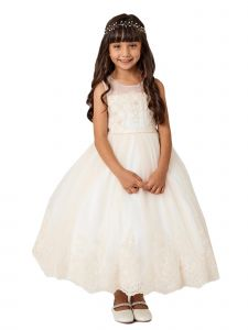 Little Girls Champagne Lace Bodice Illusion Neck Tulle Flower Girl Dress 2-6