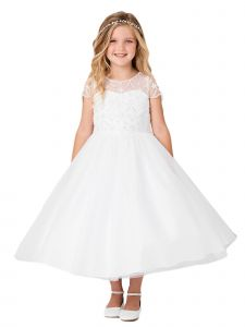 Little Girls White Illusion Neck Cap Sleeves Beaded Tulle Flower Girl Dress 2-6