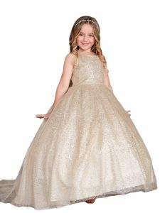 Little Girls Gold Sparkling Glitter Tulle Ombre Flower Girl Dress 4