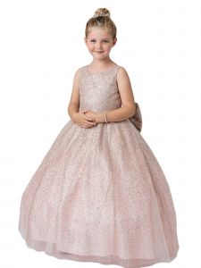 Little Girls Rose Gold Sparkling Glitter Tulle Ombre Flower Girl Dress 4