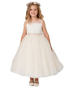 Little Girls Champagne Illusion Neck Lace Tulle Overlay Flower Girl Dress 2-6