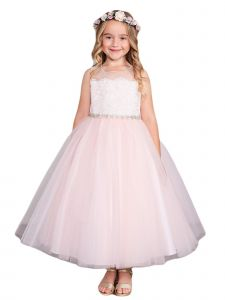Little Girls Blush Illusion Neck Lace Tulle Overlay Flower Girl Dress 2-6