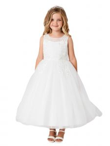 Little Girls Ivory Illusion Neck 3D Floral Lace Flower Girl Dress 4