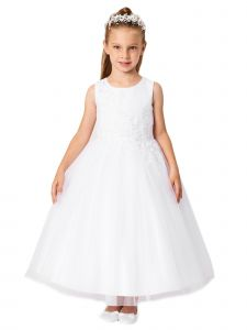 Little Girls Ivory Pleated Bodice Floral Applique Flower Girl Dress 6