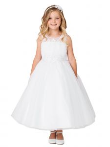 Big Girls White Illusion Neck Pleated Bodice Floral Junior Bridesmaid Dress 8-18